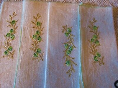 4 Vintage Unused Hand Embroidered Napkins Linen, Pine cones ,Branches
