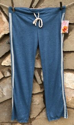 BIG FLIRT Jogging Running Sweatpants Size M Medium Blue Cotton Knit Retro Lounge