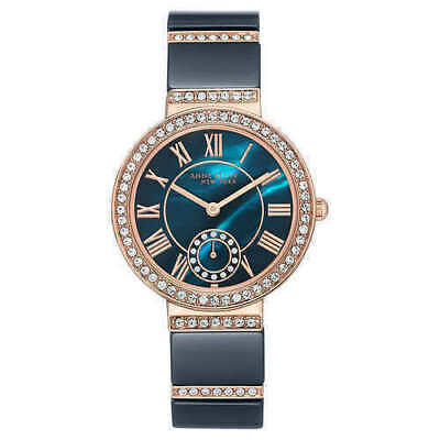 NEW Anne Klein 12/2300NVRG Women's 33mm Rose Gold Tone/Navy Crystal Accent Watch