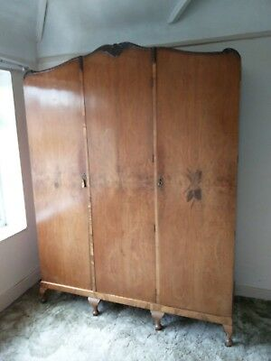 Triple Wardrobe, old, antique wood, 3 door