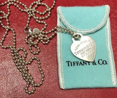 Valentines Day!! Tiffany & Co. Sterling Silver Heart Tag/pendant With Ball Chain