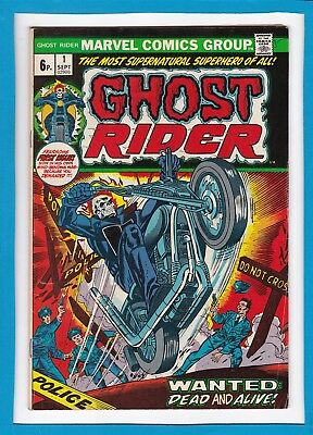 Ghost Rider #1_September 1973_F/vf_Fearsome First Issue_Bronze Age Marvel_Uk!