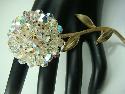 """Vintage Huge 4"""" Ab Faceted Pinned Crystal Cluster Flower Gold Tone Pin Brooch"""