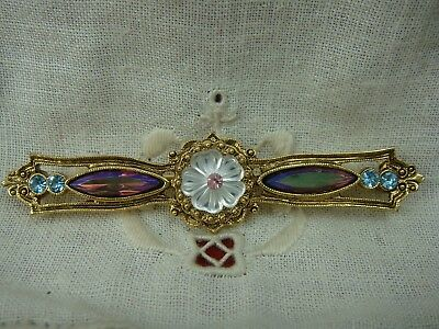 Vintage 1980's Molded Flower Ab Purple Bar Pin Brooch Gold Tone By 1928