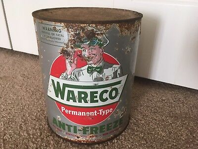 Graphic Wareco Antifreeze Can Motor Oil Original Gas Station Sign Old Metal Orig