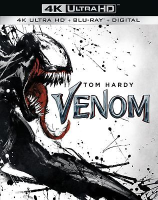 Venom (4K Ultra HD + Blu-ray + Digital 2018) Slipcover Movie, Like New Mint!!