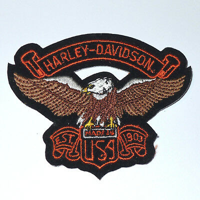 Vintage 1990's Harley Davidson Embroidered Made In USA Eagle Patch 3.5 x 3 In