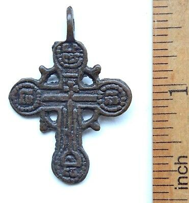 Ancient Old Bronze Golgotha Ornament Cross (DEC35)