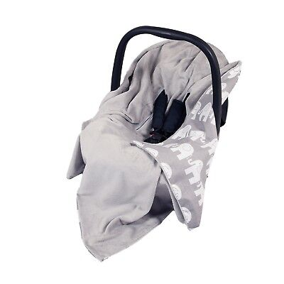 Universal baby car seat blanket grey & white elephants great condition footmuff