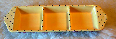 Mary Engelbreit Condiment Tray 3 Compartments Cherries Yellow with Black dots