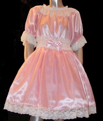 Sissy Maid Babykleid rose Satin  adult baby