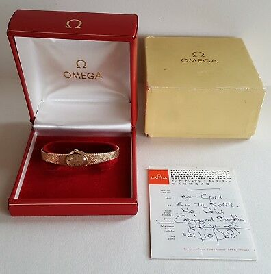LADIES VINTAGE .375 9CT GOLD MANUAL WINDING OMEGA WRIST WATCH + BOX & PAPERS 22g
