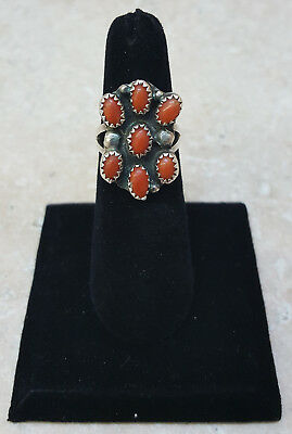Nice Size 6 Old Vintage Silver 7 Petit Point Coral Native American Indian Ring
