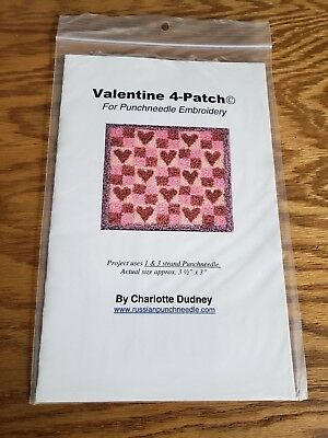 Charlotte Dudney NEW Valentine 4-Patch Hearts Punch Needle Pattern Free Shipping