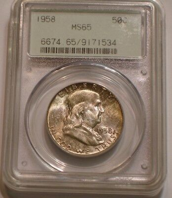 1958 P Franklin Half Dollar PCGS MS 65 GEM BU OGH older Green Label Holder