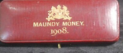 1908 Great Britain King Edward VII Unc Rare Maundy Set In Box of Issue
