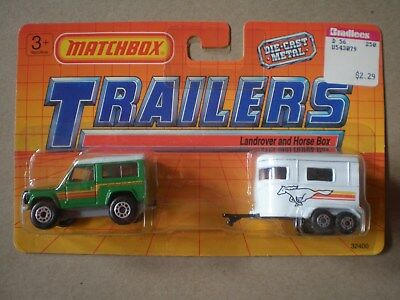 Matchbox Land Rover Ninety Horse Box Trailer Two Pack car truck card