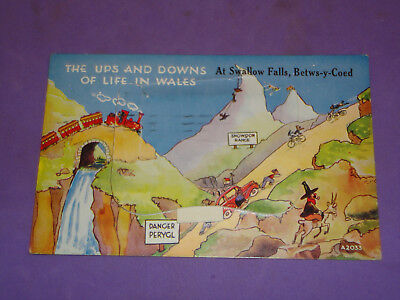 Mailing Novelty Pull Out Postcard Swallow Falls Wales 1961