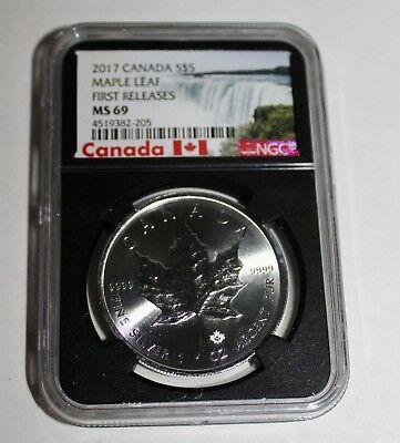2017 Canada Fine Silver $5 Maple Leaf First Releases Ngc Ms 69--Nr!