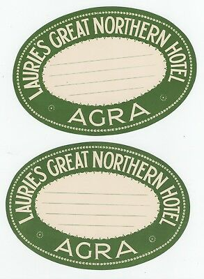 Lot of (2) 1920's Laurie's Great Northern Hotel Agra India Vintage Luggage Label