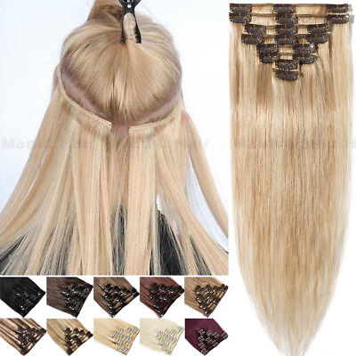 Any Color Clearance Clip In 7PCS Remy Real Human Hair Extensions Highlight Weft