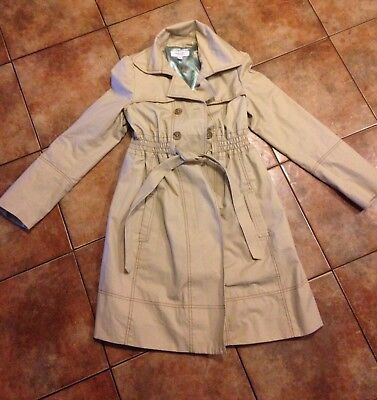 Womens Liz Lange Maternity Tan Trench Coat Jacket Small