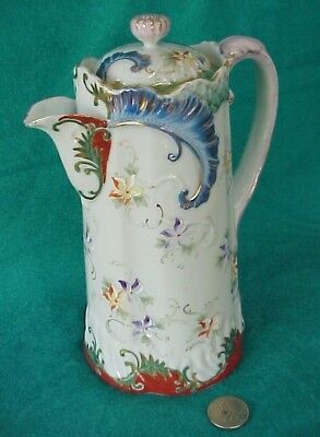 Antique Japanese Chocolate Pot Hand Painted with Floral Design & Gold Gild