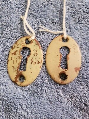 Pair of Vintage Antique Brass Oval Flat Escutcheon Skeleton Key Hole Covers