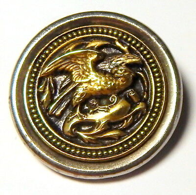 """ANTIQUE 1880'S VICTORIAN BRASS & SILVER PICTURE BUTTON of EAGLE - 1 1/4"""""""