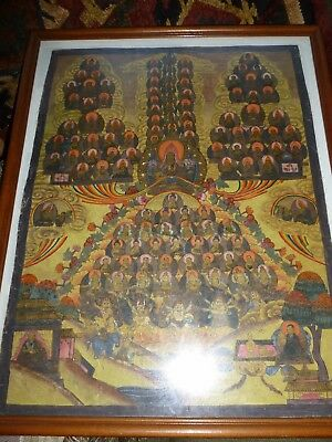 "Nepal China Tibet Saints Antique Painting 14x19"" Signed"