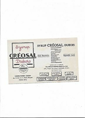 1930's Blotter advertising Syrup CREOSAL Dubois by Anglo French Drug Co Ltd WC1