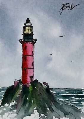 ACEO ATC original art miniature painting by Bill Lupton - Isolated Lighthouse