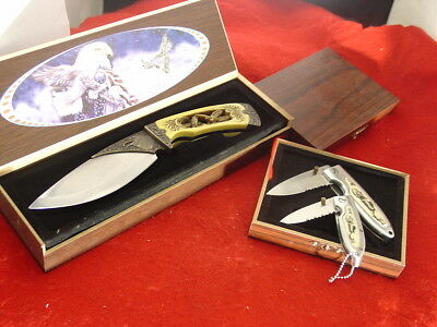 3 Unbranded Lock Blade & Fixed Blade Collector 3 Knife Set & Presentation Boxes