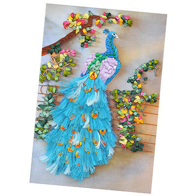 Handcraft Ribbon Embroidery Kit Peacock Design DIY Home Wall Decor 50 x 65cm