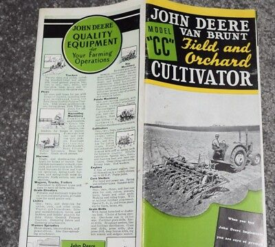 antique JOHN DEERE brochure catalog 1941 van brunt model cc orchard cultivator