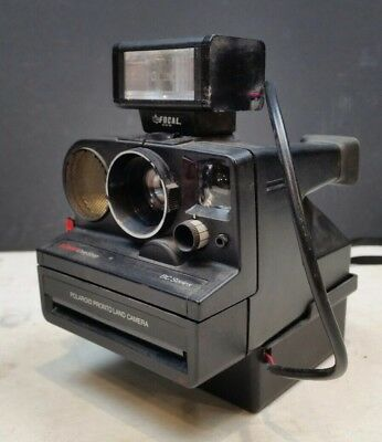 Polaroid SX70 Land Camera Sonar One Step BC Series Vintage with Flash 1980s