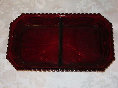 AVON 1876 Cape Cod Ruby Red Divided Dish   Excellent Condition