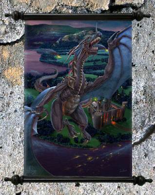 "Stunning Fantasy Dragon Canvas Wall Scroll "" Dragons Last Stand """