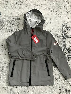 NWT Hunter Target Reflective Packable Rain Jacket Coat Silver Gray Kids Youth XS