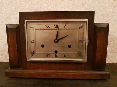 Beautiful Art Deco Haller Westminster Chiming Mantle Clock- Working