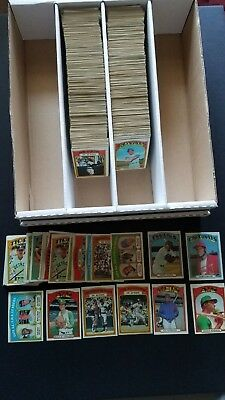 HUGE 1972 TOPPS BASEBALL CARD LOT (1050) COMMONS in VG condition