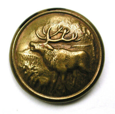 """BB Antique Brass Sporting Button with Elk Scene  - 11/16"""""""