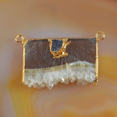Rare Amethyst Druzy Slice & Agate Druzy Connector Gold Plated T073586