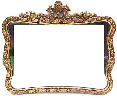 VTG CARVED WOOD GOLD CURVED WALL MIRROR VICTORIAN ANTIQUE 30s 40s BAROQUE