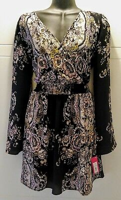Xhiliration Classic Long-Sleeve Little Black Floral Print Dress Size Small