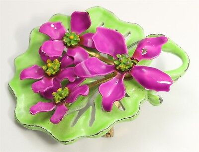 Vintage Mid Century Ornate Hand Painted Enamel Lily Flowers Floral Brooch Pin