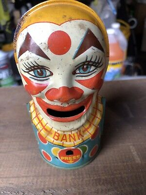 Vintage Tin J. CHEIN Mechanical CLOWN Bank AS-IS L@@k