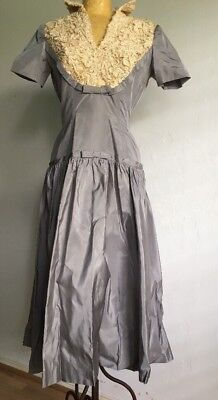 1950s Vintage Day Dress Silver With Lace Short Sleeve