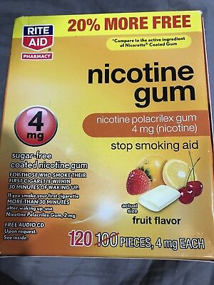 Rite Aid Nicotine Gum 4Mg Sigar Free Fruit Flavor 120 Pieces Expired 12/18