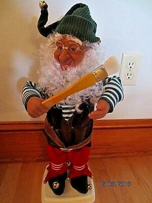 """21"""" Animated Enchanted Forest Elf Christmas Holiday Painter"""